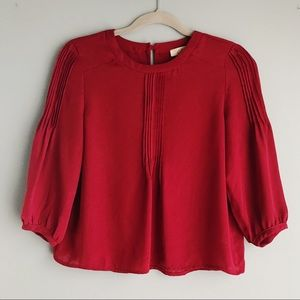 Anthropologie Elodie Red Blouse 3/4 Sleeves (S)